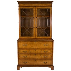 Burled Walnut Tall Secretaire Bookcase
