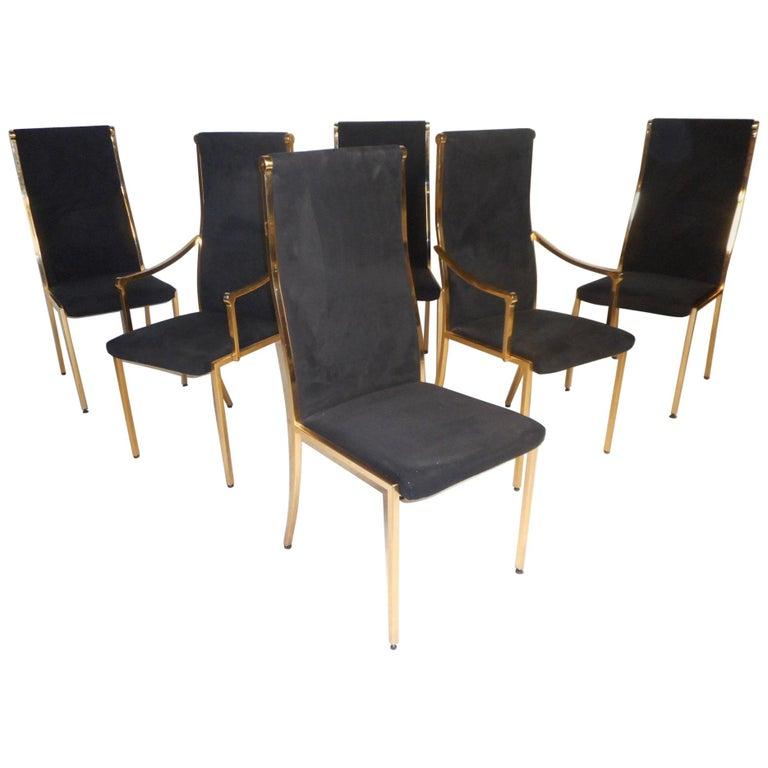 Set of Six Midcentury Mastercraft Style Brass Frame Dining Chairs