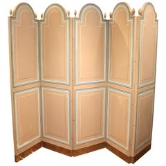 Maison Jansen Folding Screen in Pink with Pinecone Finials