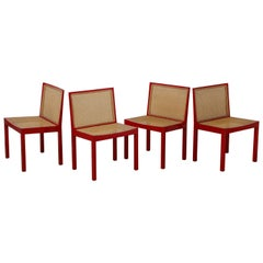 "Set of Four Red Lacquer ""Bankstuhl"" Chairs by Willy Guhl for Stendig"