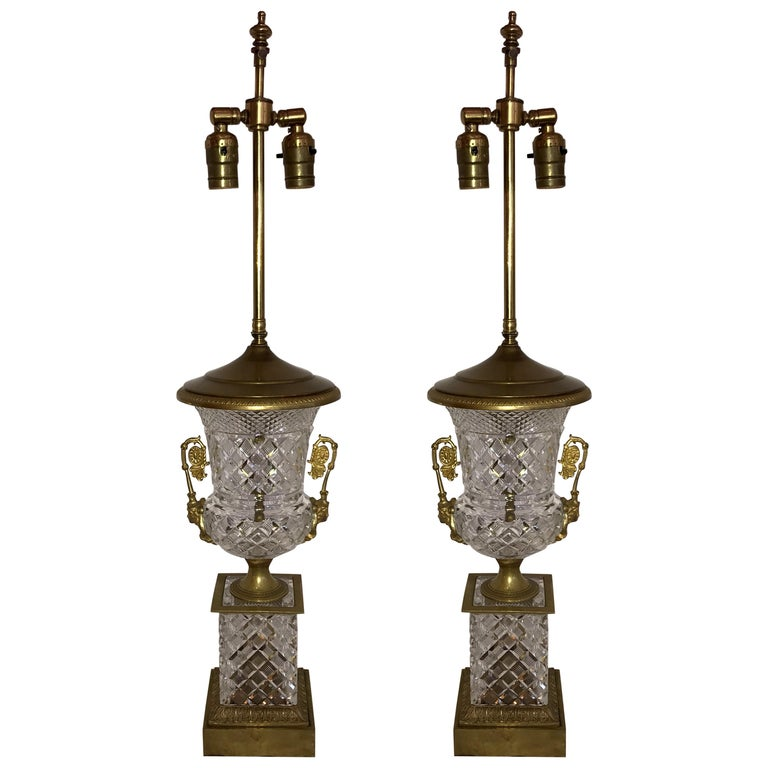 Wonderful Pair of French Empire Neoclassical Cut Crystal Bronze Ormolu Urn Lamps