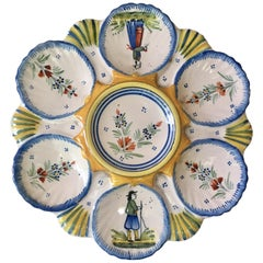 French Faience Henriot Quimper Oyster Plate, circa 1910
