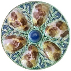 19th Century Majolica Oyster Plate S.Fielding and Co