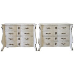 20th Century Pair of Painted Wood Inlay Italian Bed Side Commodes Nightstands