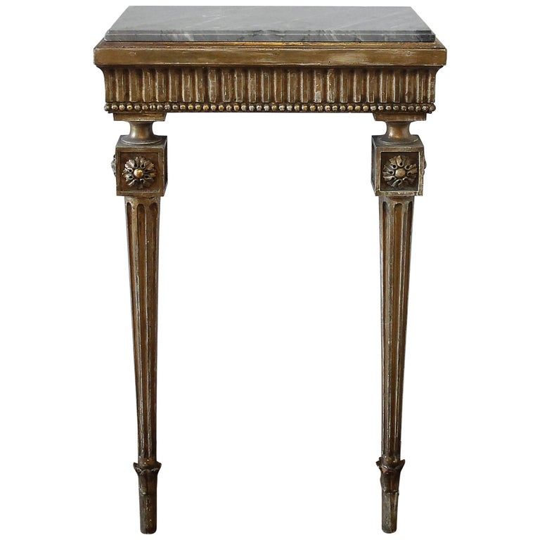 20th Century Louis XVI Style Petite Giltwood Wall Console Table with Stone Top