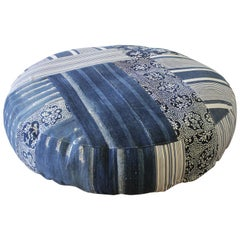 Round Pet Bed Made from Vintage Batik Mud Cloth Indigo Textiles