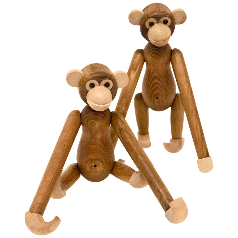 Pair of Danish Modern Articulated Toy Monkeys For Sale