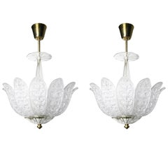 Pair of Orrefors Crystal Chandeliers in the shape of leaves