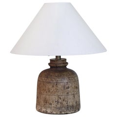 18th Century Swedish Turned Wooden Vessel Lamp