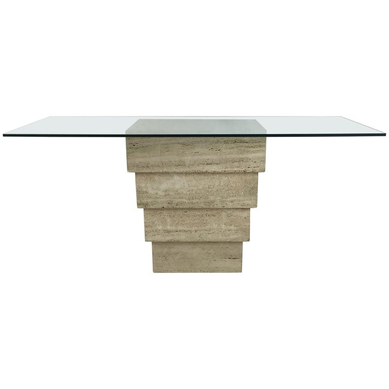 Italian Travertine Base Writing Table For Sale
