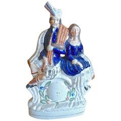 English XIX Staffordshire Porcelain Figurine of Bonnie Prince Charles