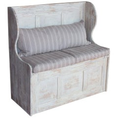 English Vintage Pine Box Settle