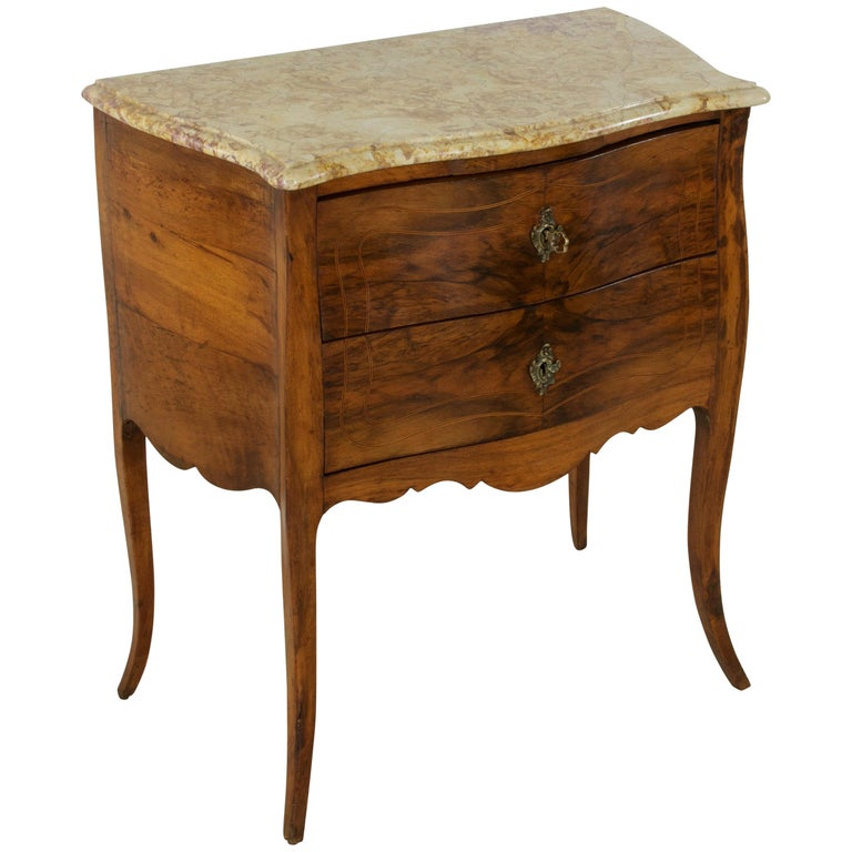 Small 18th Century French Louis XV Style Marquetry Commode or Chest, Marble-Top
