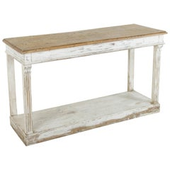 French Painted Console Table or Sofa Table with Walnut Top, Lower Shelf