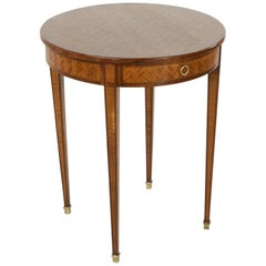 Late 19th Century Louis XVI Style Rosewood and Mahogany Marquetry Side Table