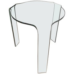 Curved Glass Side Table, Homage to Alvar Alto, Manufactured in Italy by Fiam