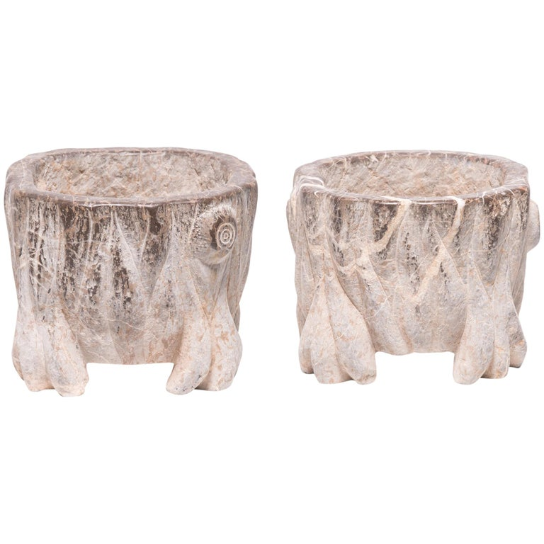 Pair of Chinese Petite Mythical Limestone Basins For Sale