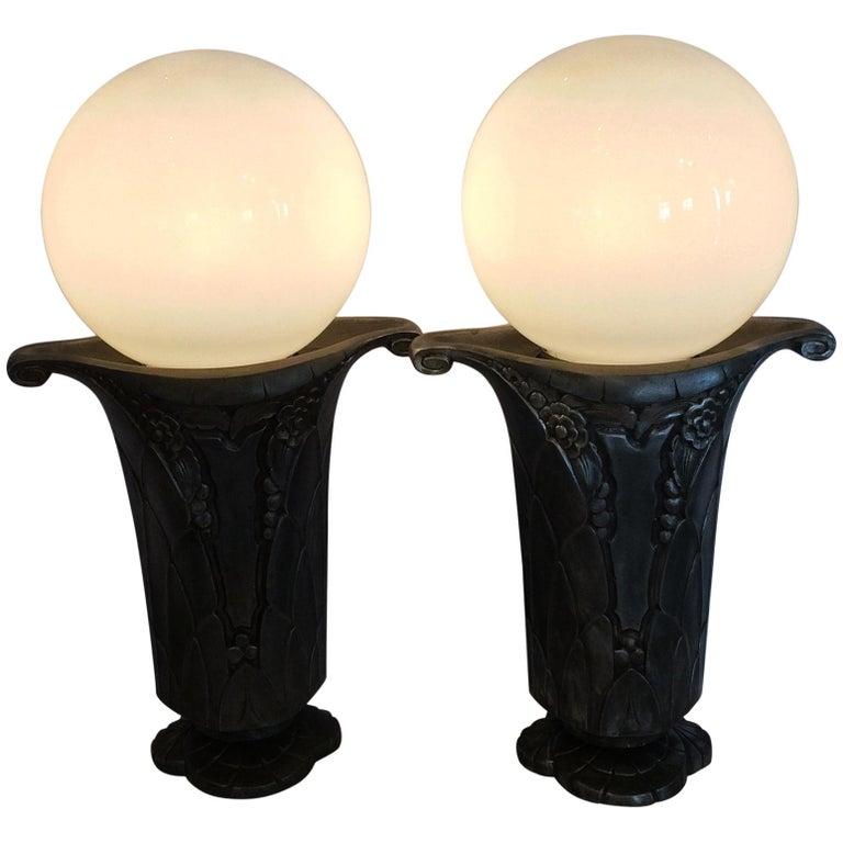 Pair of Art Deco Nickel Lamps