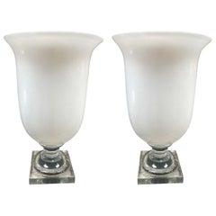 Italian Murano Opaline Glass Urn Lamps, 1950s