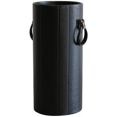 Leather Umbrella Stand in the Manner of Jacques Adnet