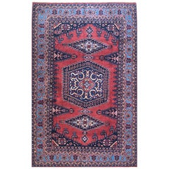 Persian Hand Knotted Geometric Red Blue Viss Rug