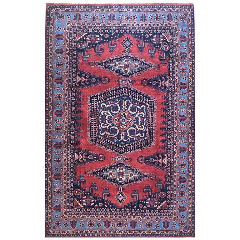 Persian Hand Knotted Geometric Red Blue Viss Rug For Sale