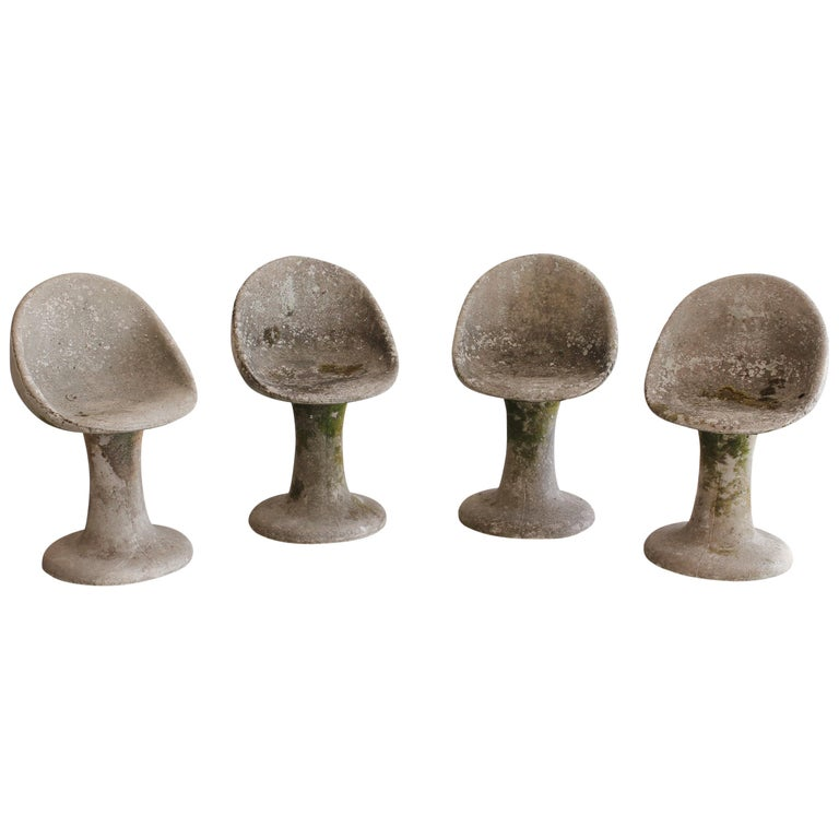 Concrete Garden Chairs in Style of Willy Guhl