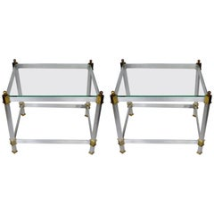Pair of Classical Aluminum Brass and Glass Tables Attributed to Maison Jansen