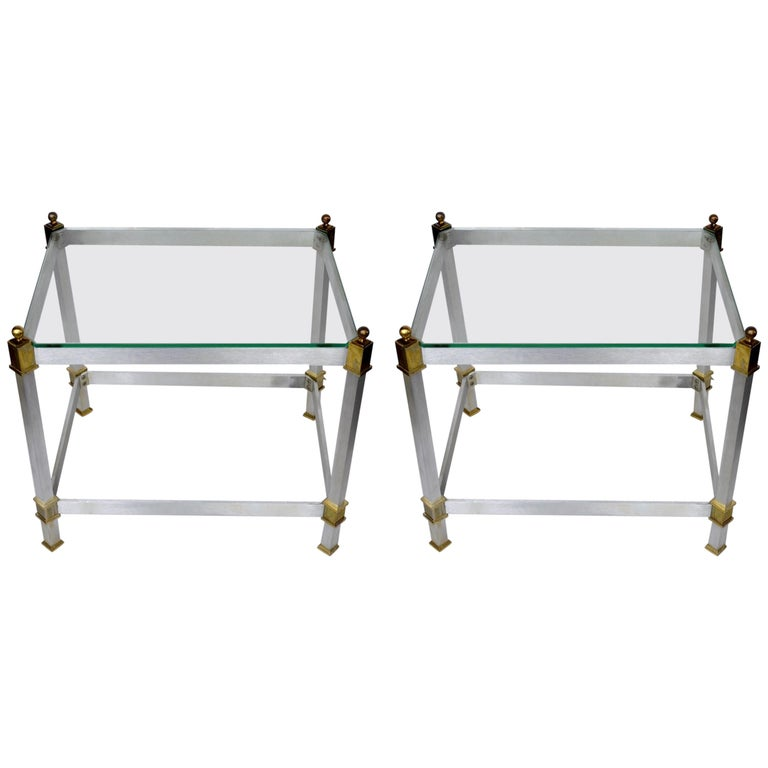 Pair of Classical Aluminum Brass and Glass Tables Attributed to Maison Jansen For Sale