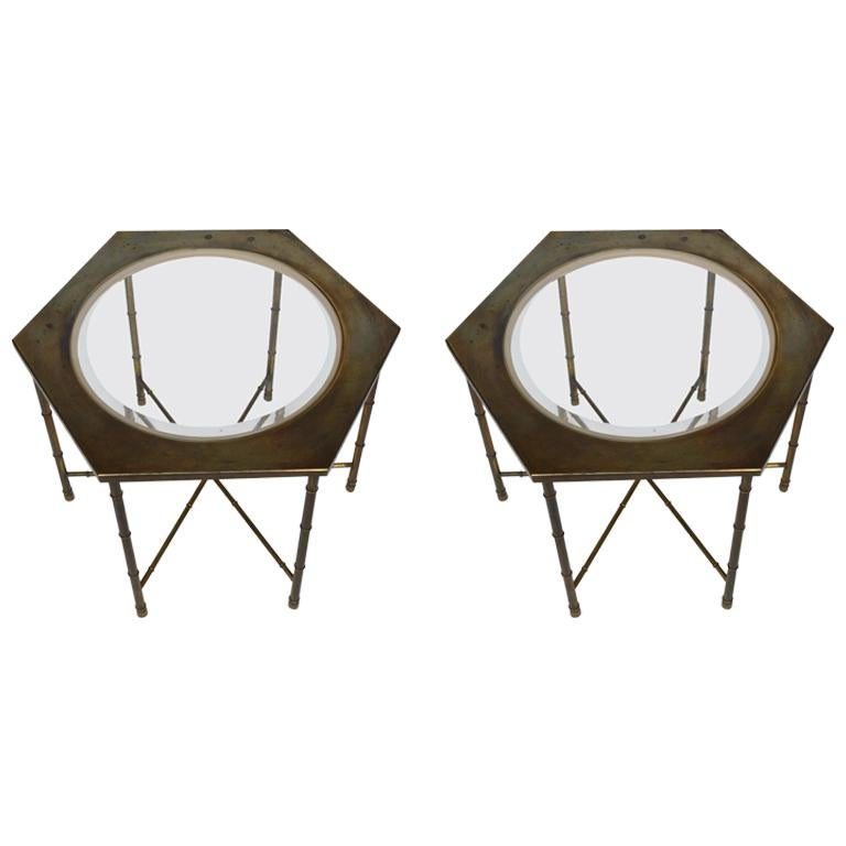 Pair of Hexagonal Brass and Glass Tables For Sale