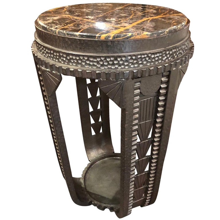 Custom Art Deco French Style Iron Table in the Style of Edgar Brandt