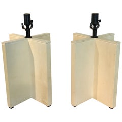 Parchment Leather Croisillon Lamps after Jean Michel Frank