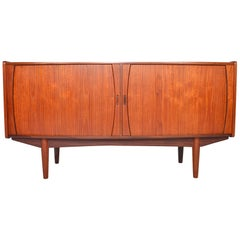 Danish Modern Bow Front Tambour Door Credenza in Teak