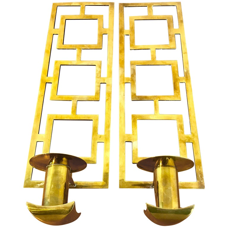 Pair of Tommi Pazzinger Style Brass Candle Sconces by Sarried