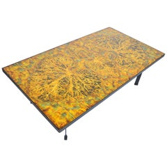 Large Danish Modern Hand-Painted Tile and Steel Coffee Table by Knud Michel