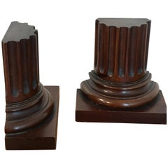 Pair of Grand Tour Carved Wood Column Bookends