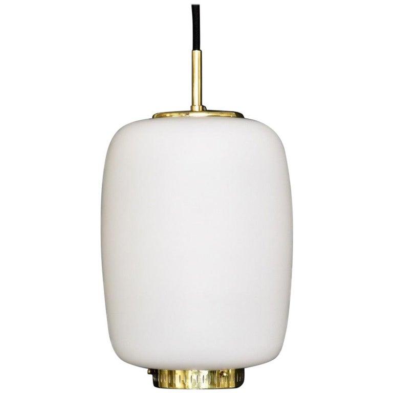 Bent Karlby Kina Pendant Brass and Opaline Ceiling Fixtures by Lyfa, Denmark