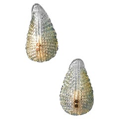 Murano Sconces, Shell Form circa 1960, Two Pairs