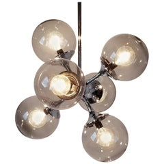 1970s Lightolier Six-Arm Chrome Sputnik Chandelier with Glass Shade, USA