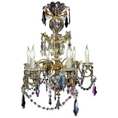 By Cristalleries de Baccarat Mid-19th Century, Bronze and Crystal Chandelier