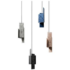 'Piece' Pendant Lamp, Terrazzo 'Black, White, Red, Blue'