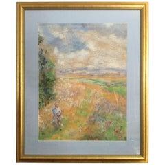 Original Impressionist Pastel of Woman in Field