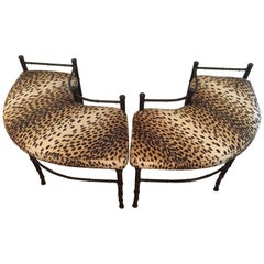 Pair of Super Sexy Curved Faux Bamboo Metal and Animal Print Fireplace Benches