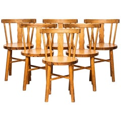 Set of Six Dining Chairs in Pine Produced in Sweden