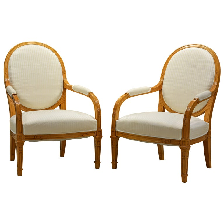 Pair of French Art Deco Era Oval Back Armchairs in the Manner of Andre Arbus For Sale
