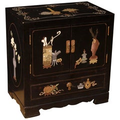 20th Century French Bedside Table in Lacquered and Painted Chinoiserie Wood