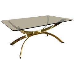 Golden Italian Coffee Table with Smoked Glass Top, 1970s