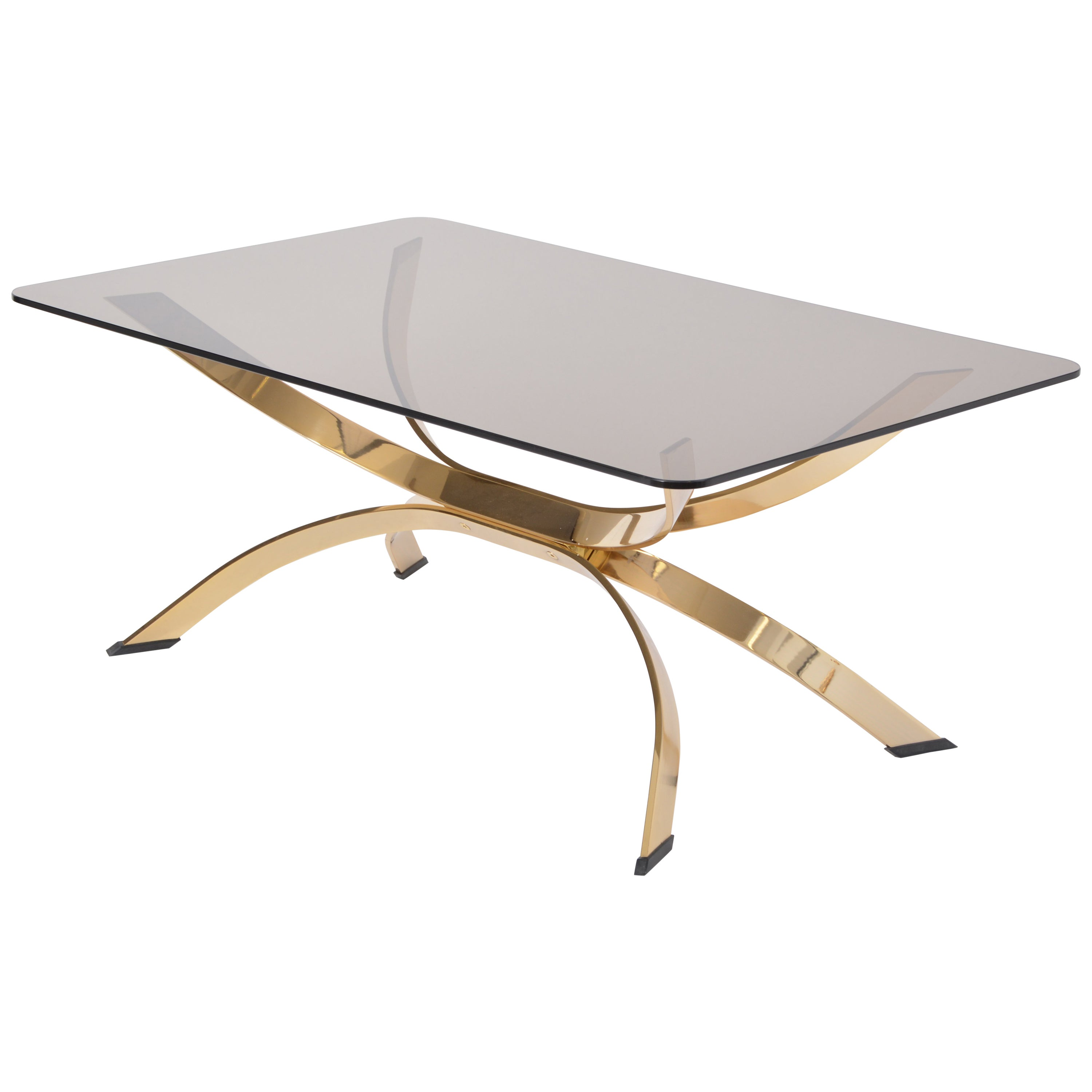 Gold Colored Mid-Century Modern coffee table with smoked Glass top