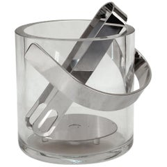 Mid-Century Modern Glass Ice Bucket with Tongs
