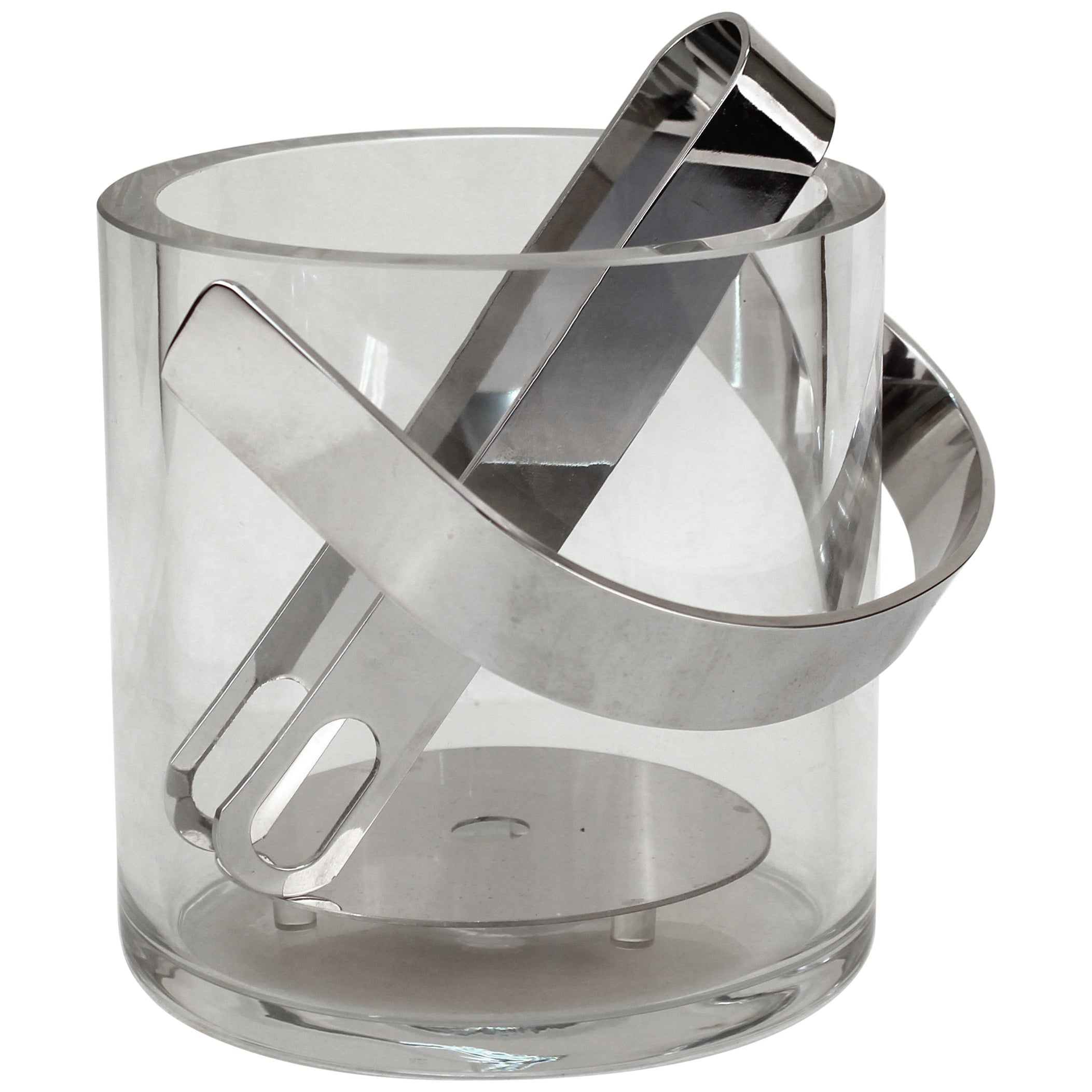 78577e3c4c3 Mid-Century Modern Glass Ice Bucket with Tongs at 1stdibs